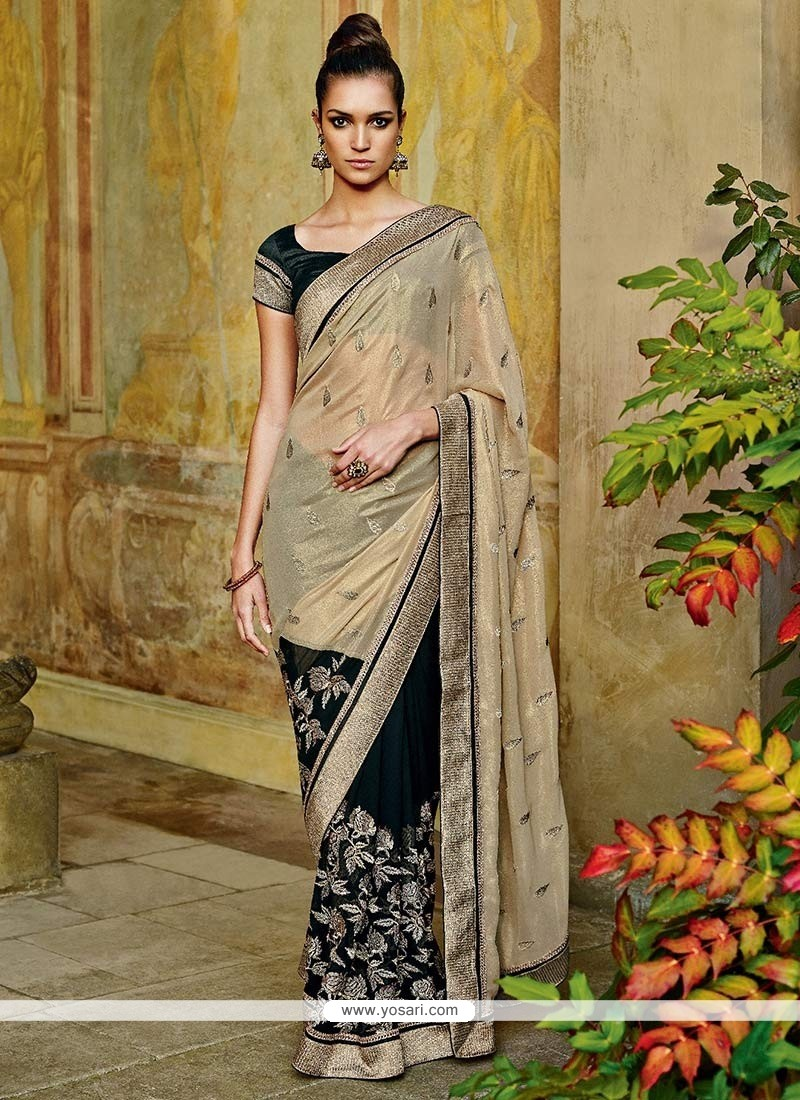 Cream And Black Georgette Saree