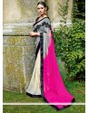 Pink And Grey Shaded Chiffon Saree