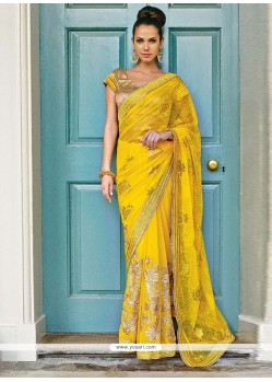 Beautiful Yellow Chiffon Saree