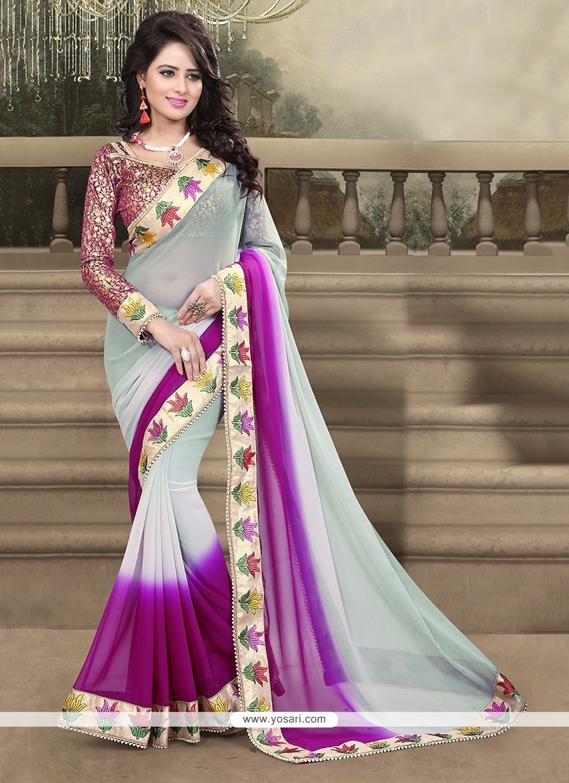 d437924625 Shop online Buy Purple Patch Border Work Georgette Designer Saree ...