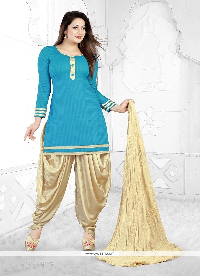 Shop online Orphic Turquoise Cotton Designer Patiala Salwar Kameez