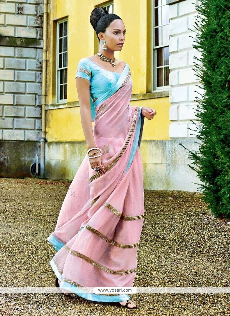 Pink Faux Chiffon Party Wear Saree