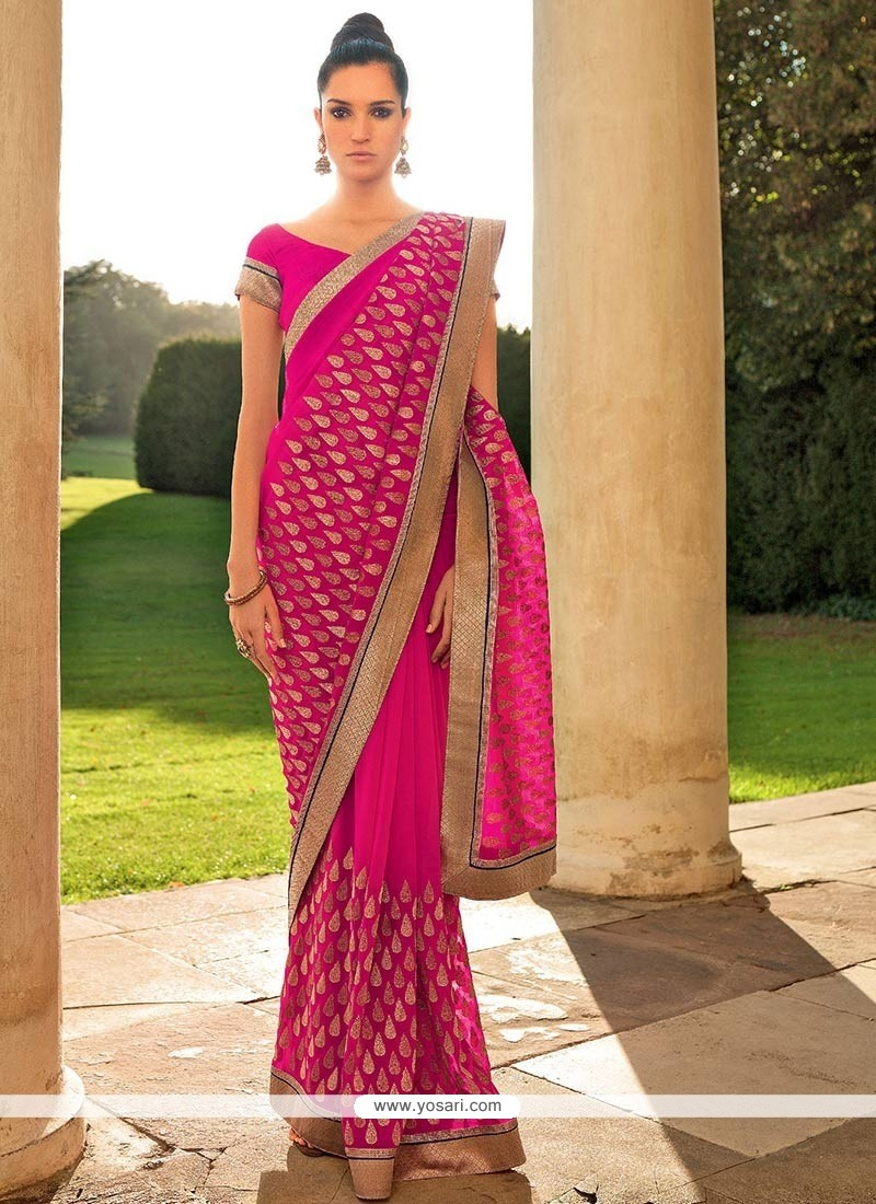 Elite Pink Faux Chiffon Saree