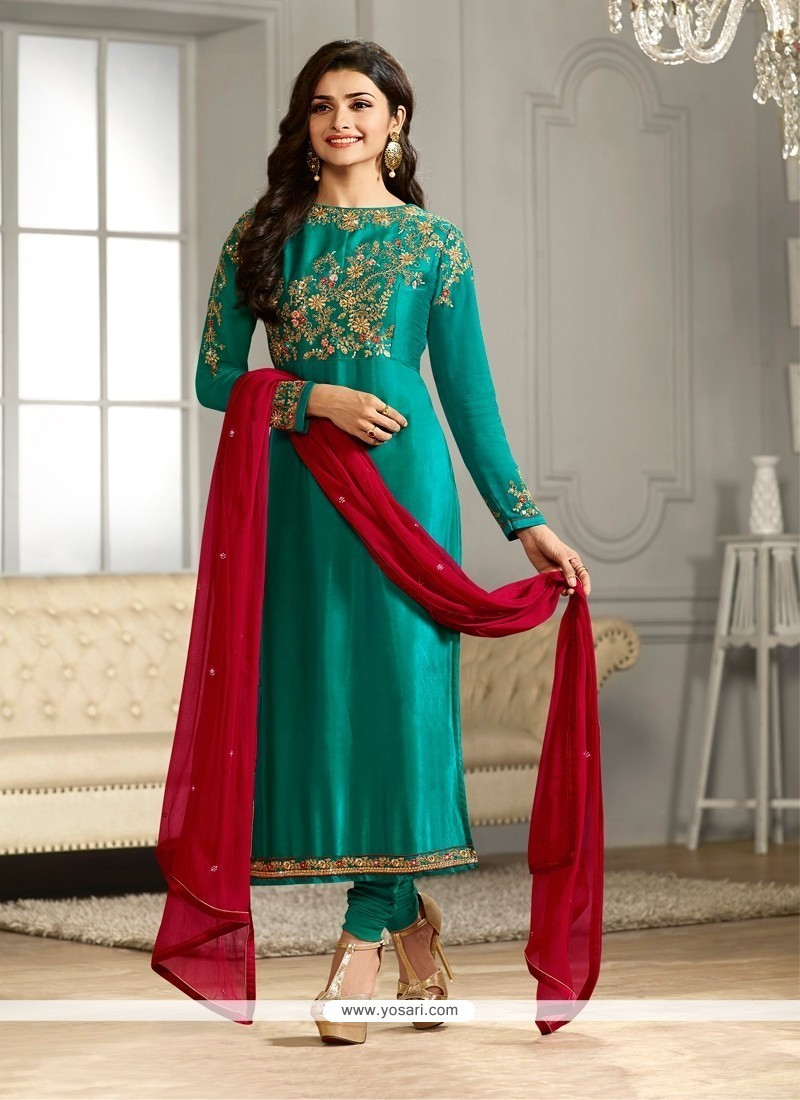 9e10ce7b60 Shop online Buy Prachi Desai Sea Green Churidar Designer Suit Online ...