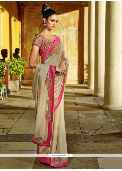 Cream Georgette Designer Saree