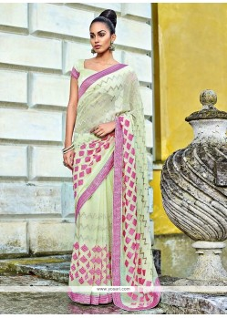 Sea Green Chiffon Designer Saree