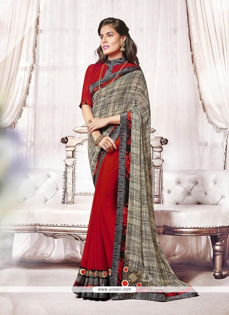 e97749877a Shop online Buy Vehemently Patch Border Work Red Designer Saree ...
