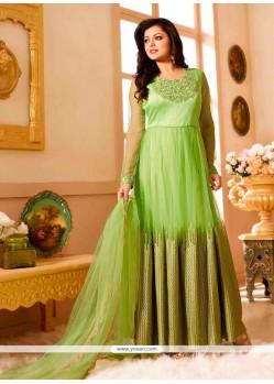 Green Net Anarkali Salwar Kameez