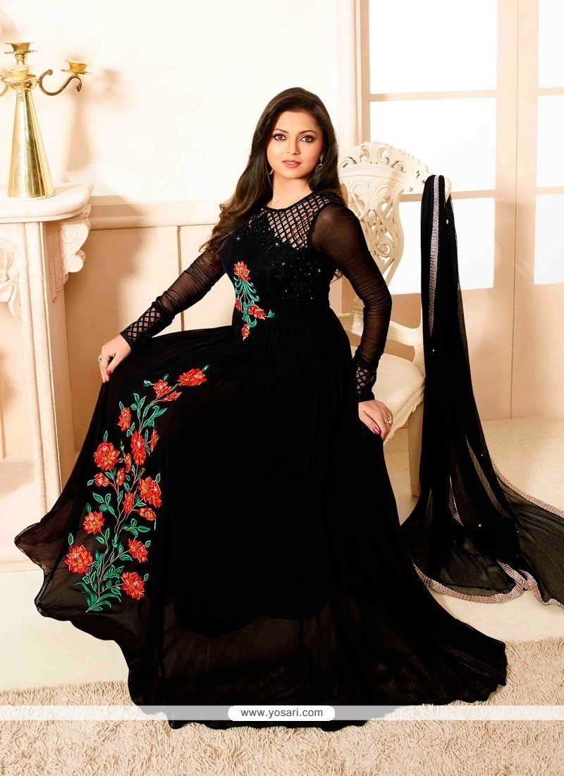 773334da13 Shop online Buy Haute Print Work Black Anarkali Salwar Kameez Online ...
