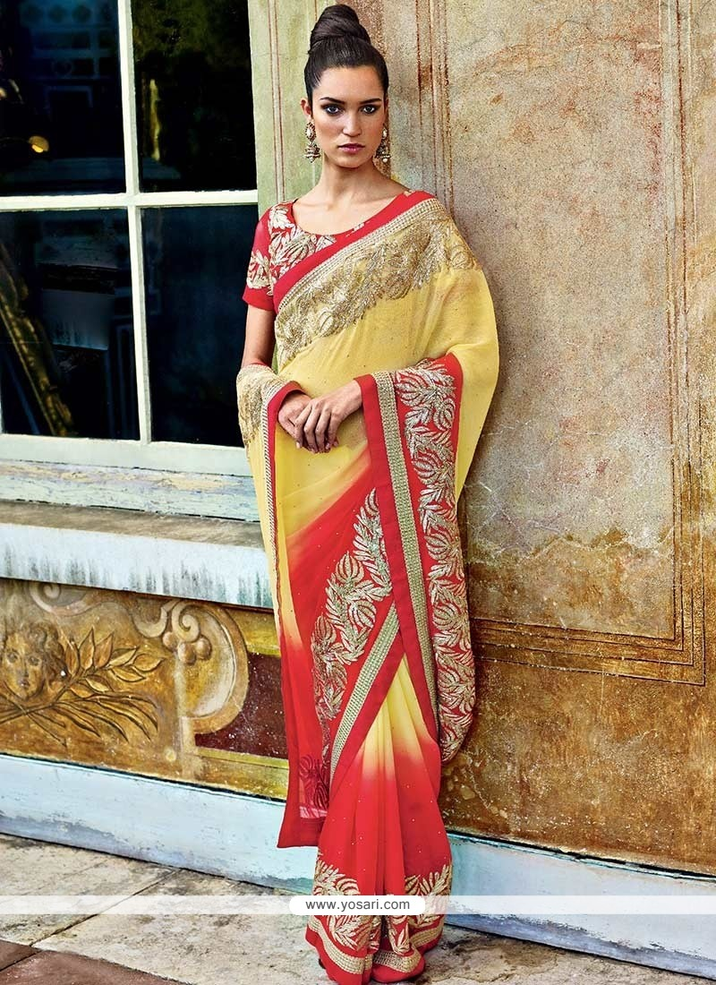 Yellow And Red Faux Chiffon Saree