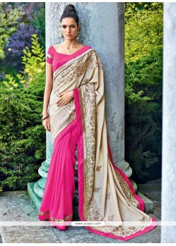 Fab Cream And Pink Georgette Designer Saree