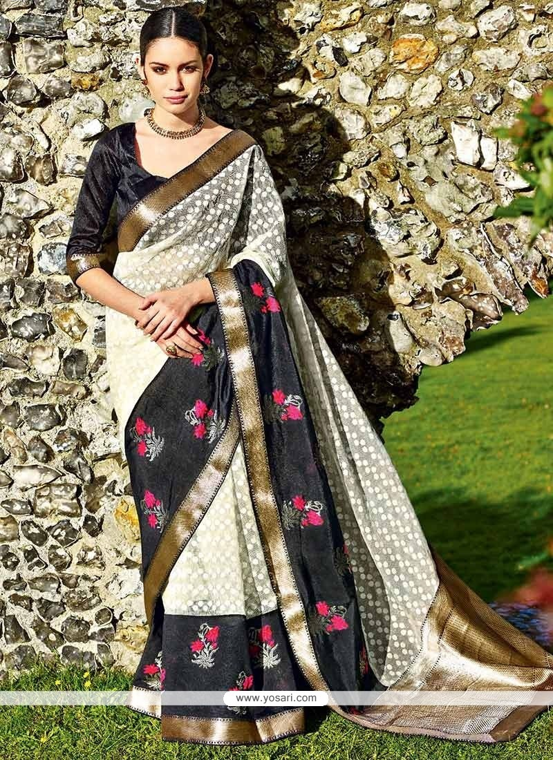 Off White And Black Jute Brasso Saree