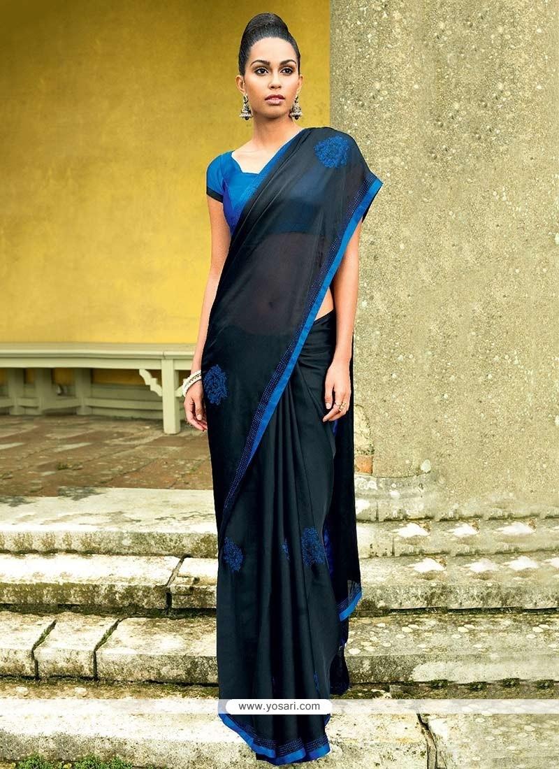 Dazzling Black Satin Saree