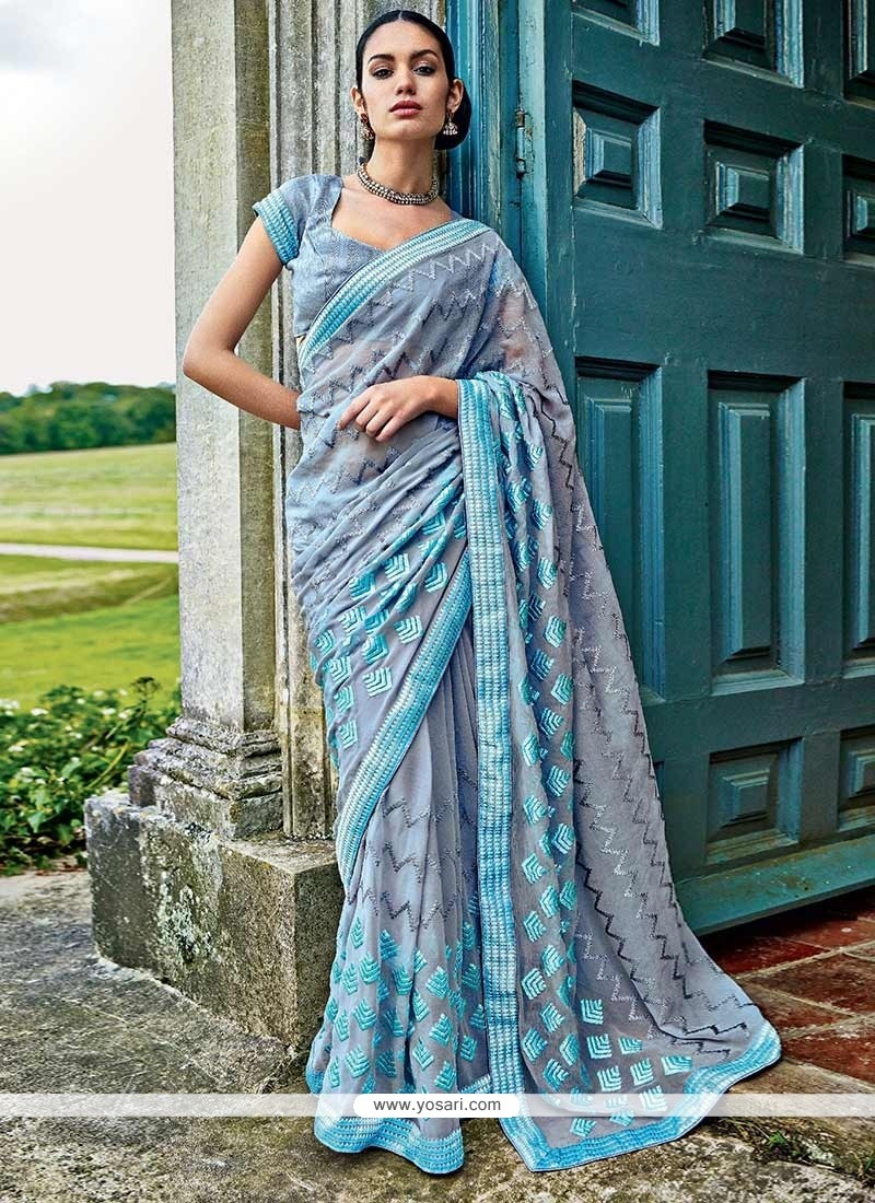 Amazing Grey Faux Chiffon Saree