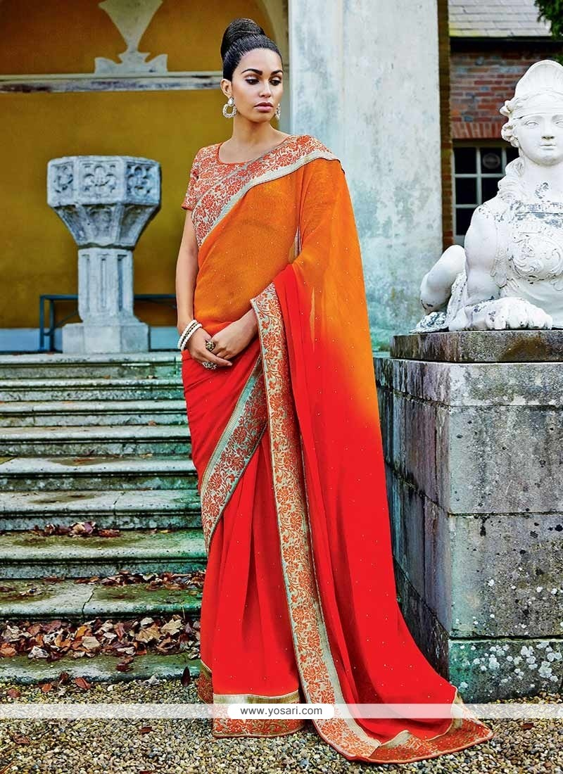 Orange And Red Shaded Chiffon Saree