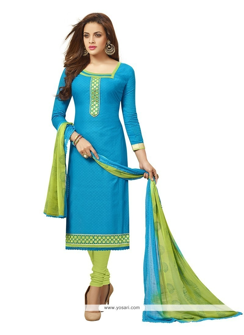 Shop online Buy Fashionable Cotton Turquoise Embroidered Work ...