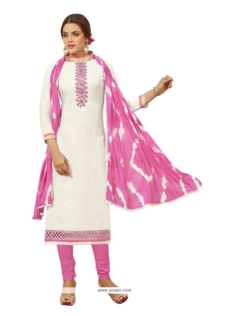 81e9683975 Shop online Buy Riveting Cotton Off White Churidar Designer Suit ...