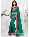 Green Satin Chiffon Party Wear Saree