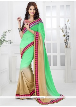 Green And Cream Jacquard Saree