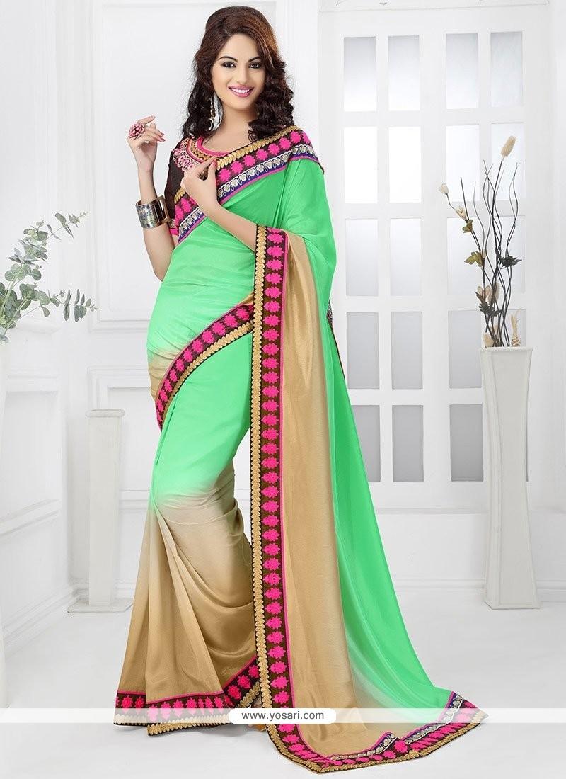 Green And Cream Jacquard Saree