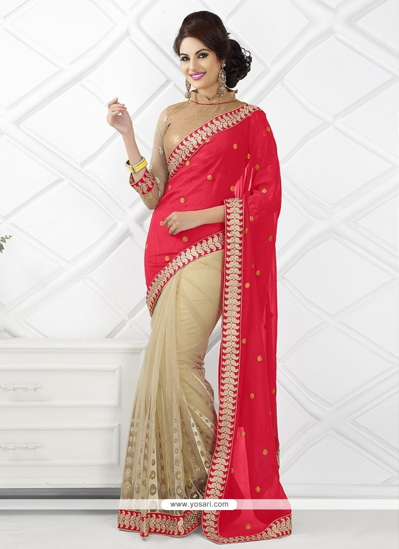 Cream And Red Net Saree