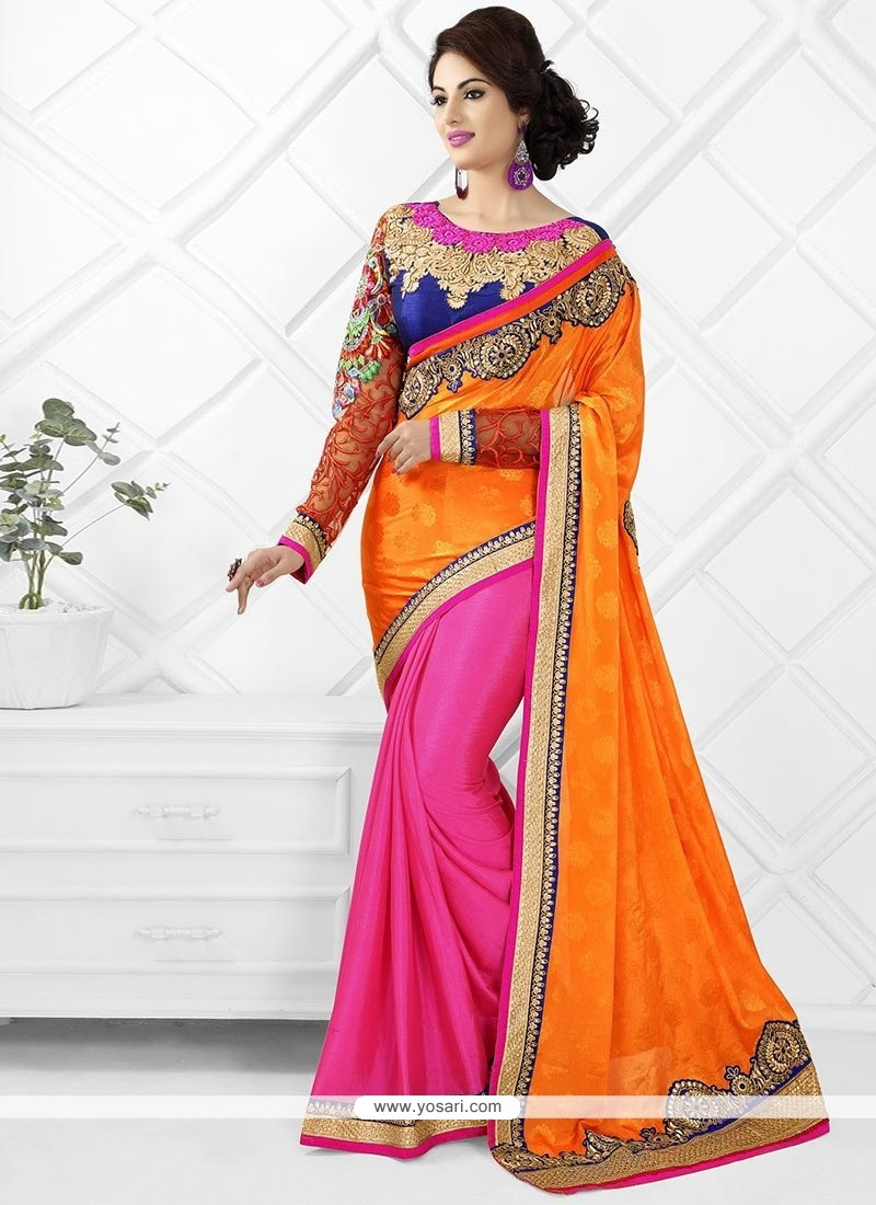 Pink And Orange Satin Chiffon Saree