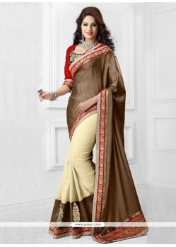 Cream And Brown Kashmiri Silk Saree