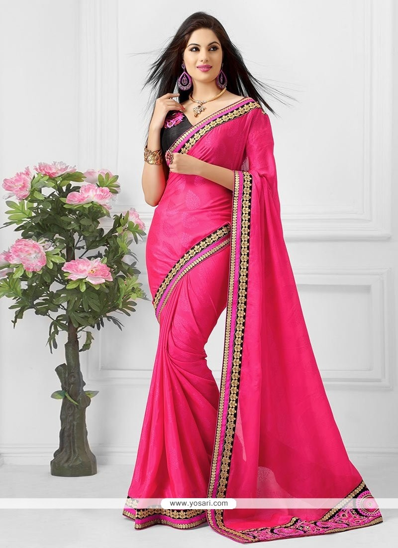 Elite Pink Jacquard Saree