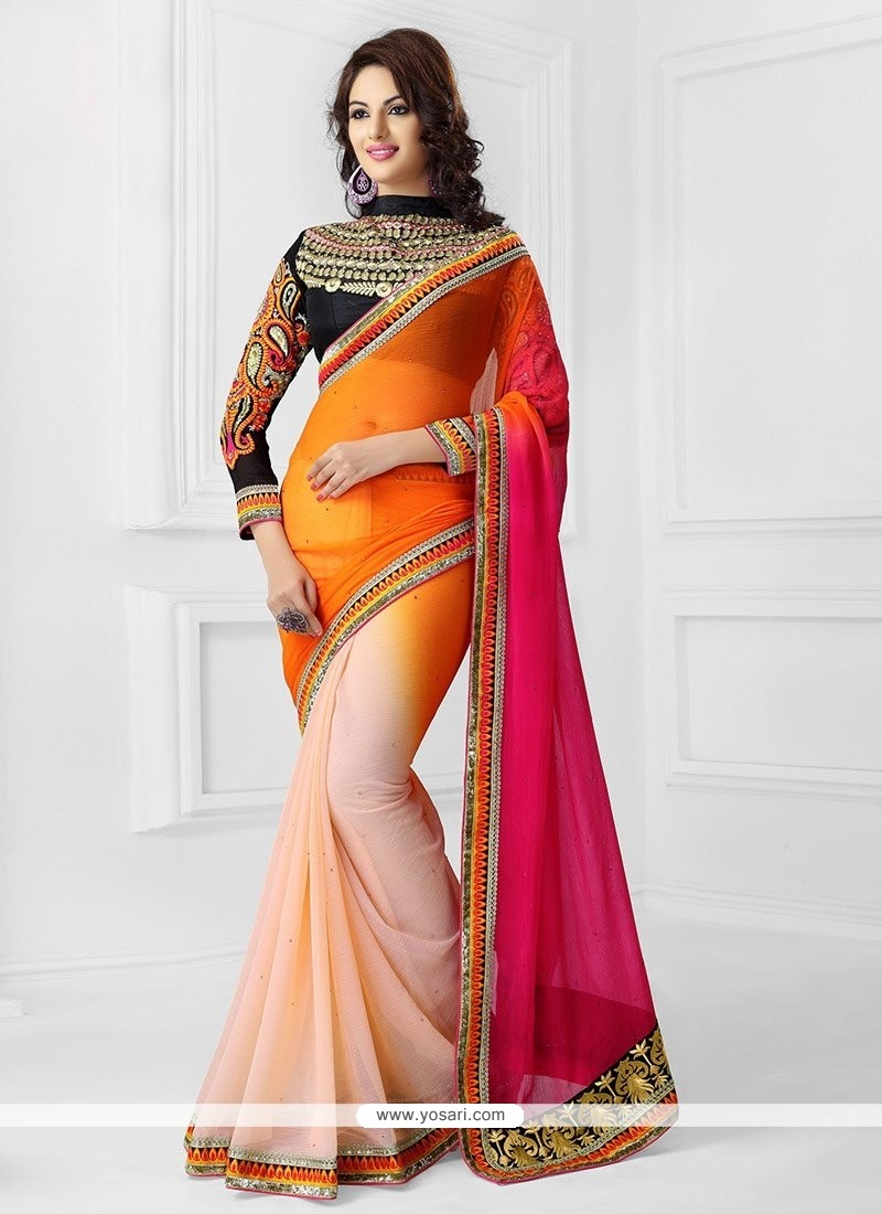Orange And Cream Shaded Chiffon Saree
