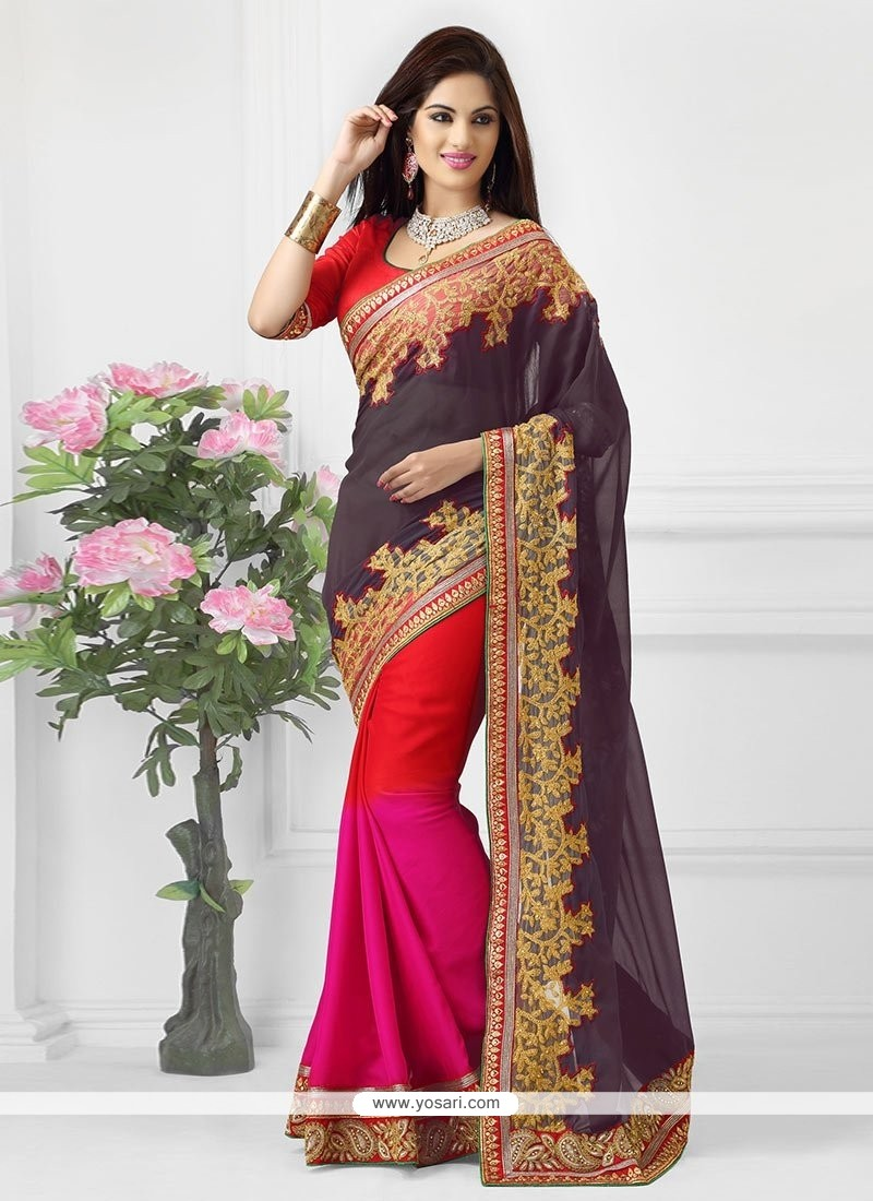 Navy Blue And Red Shaded Satin Saree