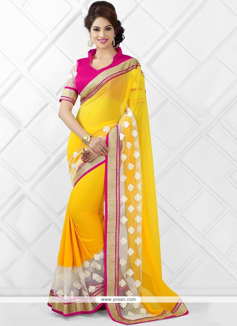 Latest Yellow Georgette Saree