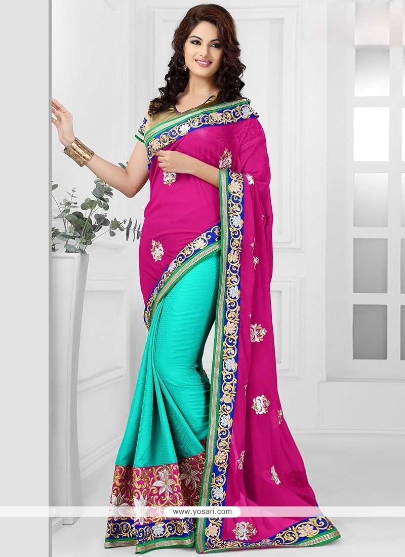 Turquoise And Pink Georgette Saree