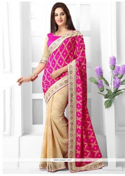 Cream And Pink Georgette Saree