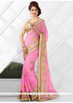 Lovely Pink Faux Chiffon Party Wear Saree