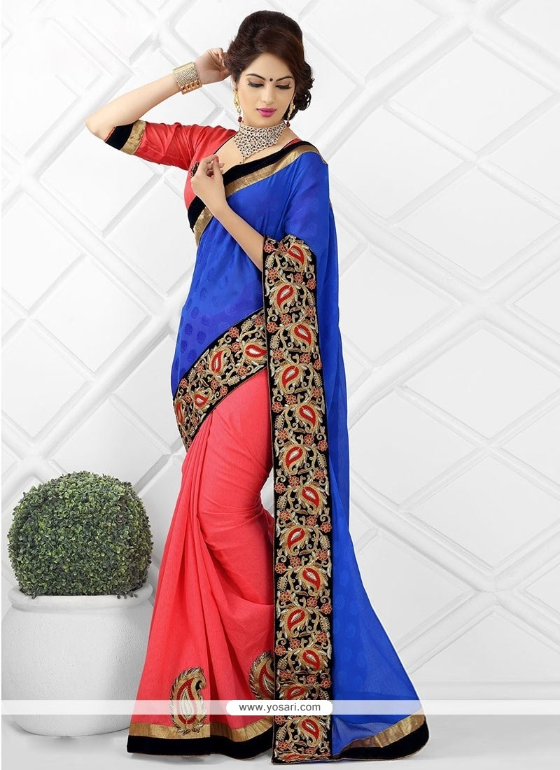 Blue And Orange Jacquard Designer Saree