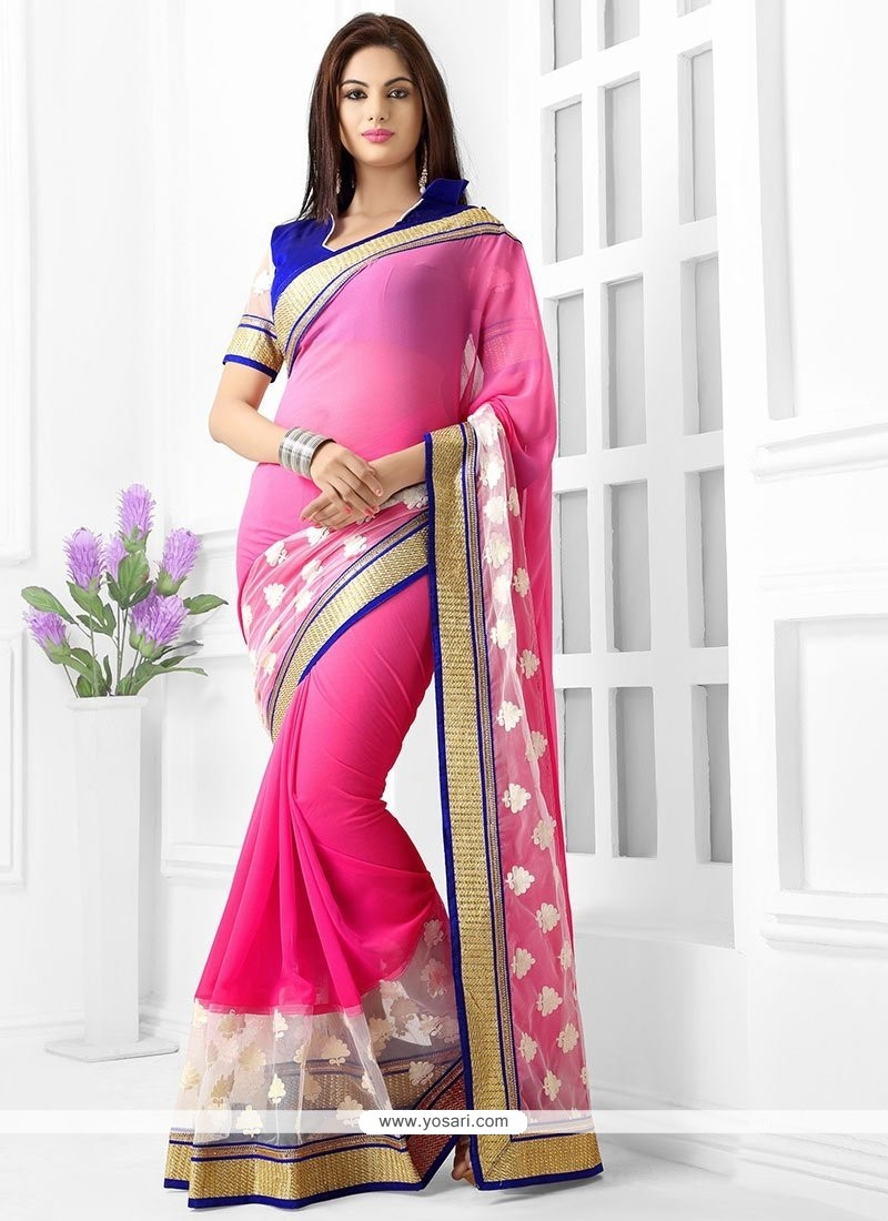 Glorious Pink Georgette Saree