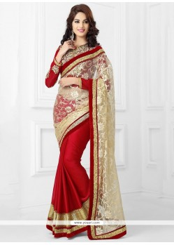 Dazzling Red And Beige Net Saree