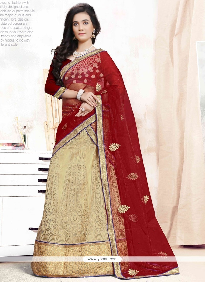 2fd8059122 Shop online Buy Beige and Maroon Patch Border Work A Line Lehenga ...