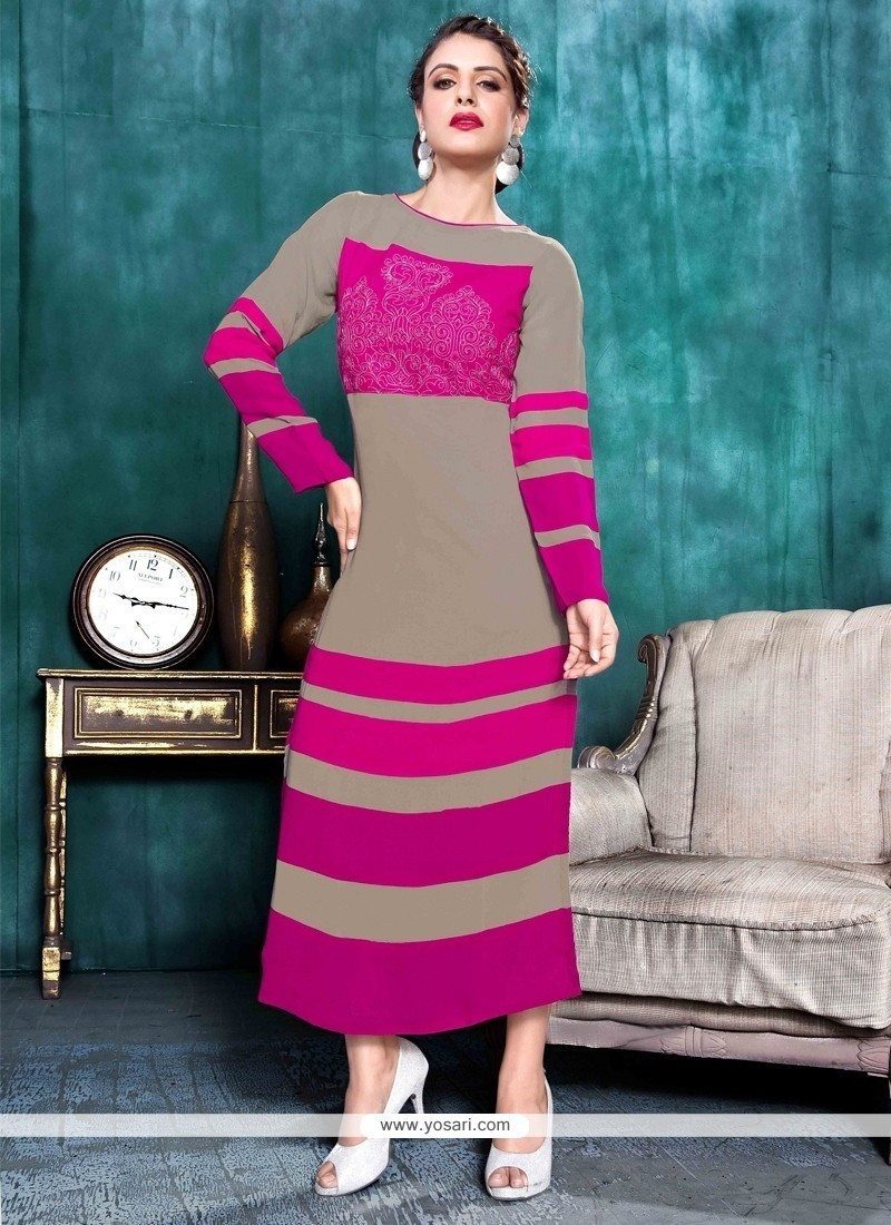 Shop online Buy Beckoning Georgette Hot Pink Party Wear Kurti Online ...