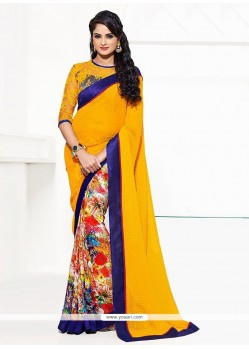 Lovely Multicolored Printed Half And Half Saree