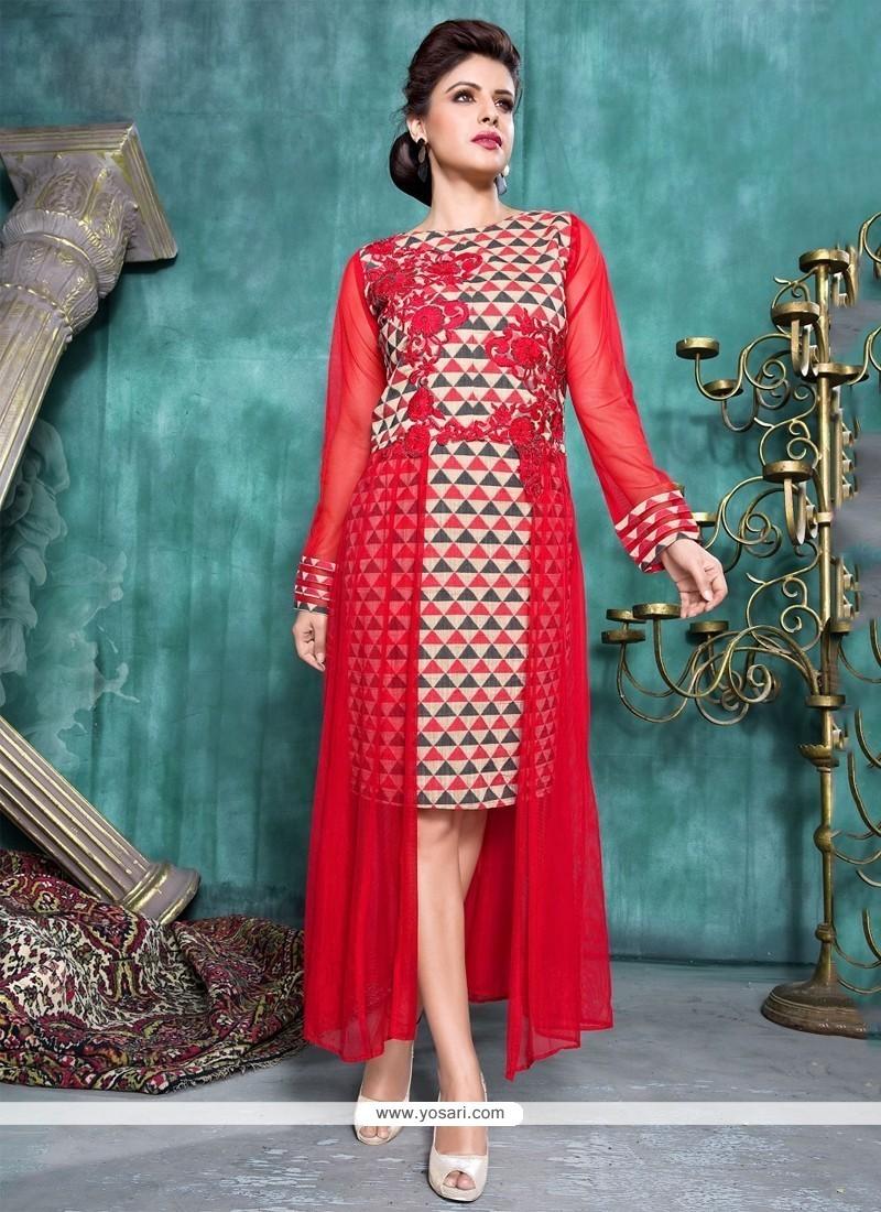 d71b67b7696 Shop online Shop Red Banarasi Silk Party Wear Kurti Online   42687