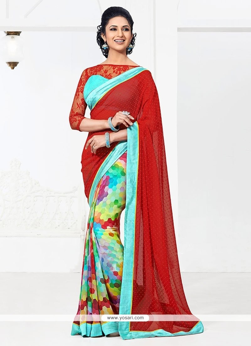 Latest Multicolored Bember Georgette Half And Half Saree