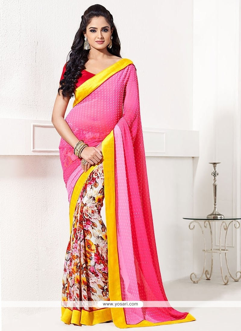 Pink Printed Half And Half Saree