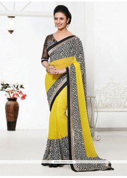 Yellow And Off White Bember Georgette Saree
