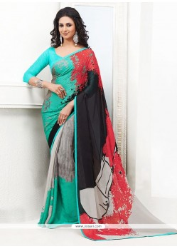 Fab Multicolored Satin Georgette Saree