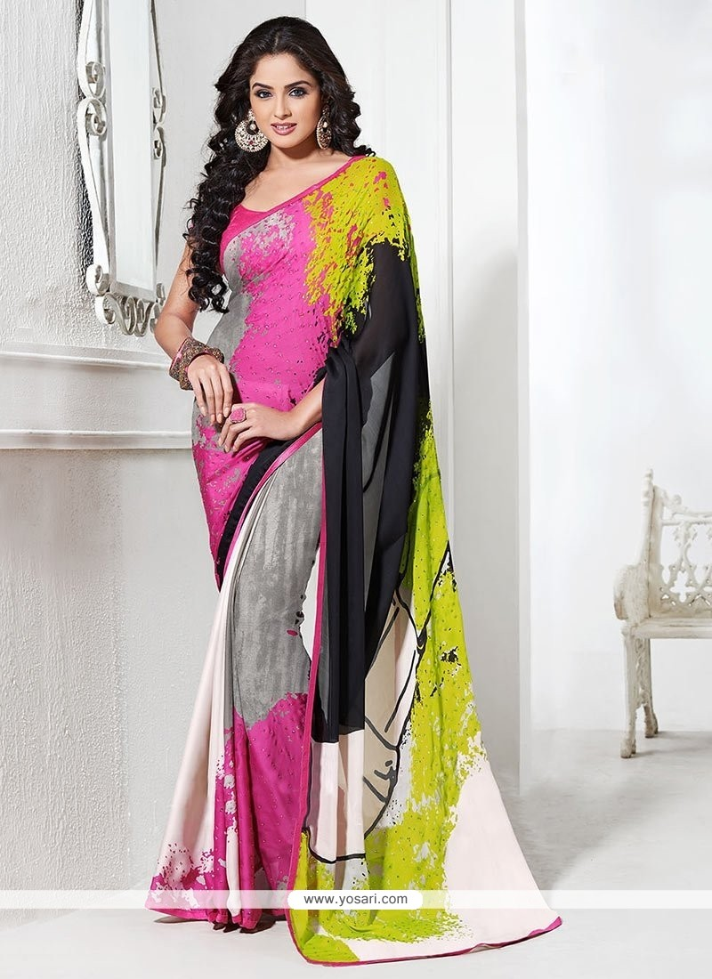 Multicolored Satin Georgette Saree