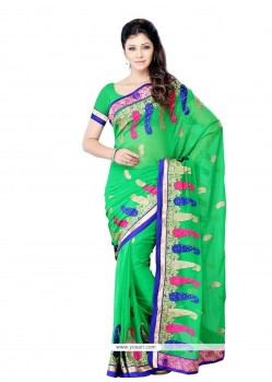 Magnificent Green Embroidered Work Designer Saree