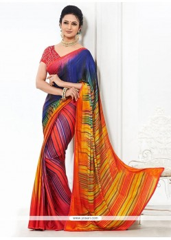Multicolor Creap Casual Saree