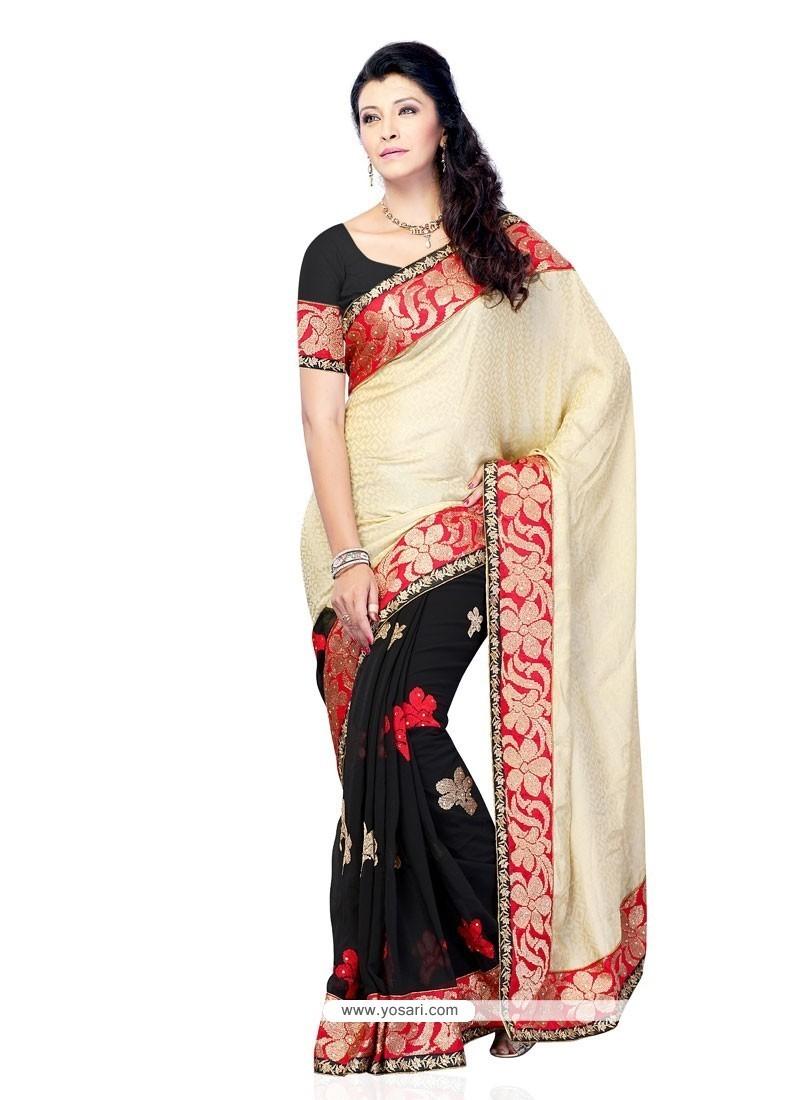 ea48c4a1bf Shop online Buy Refreshing Patch Border Work Black Designer Saree ...