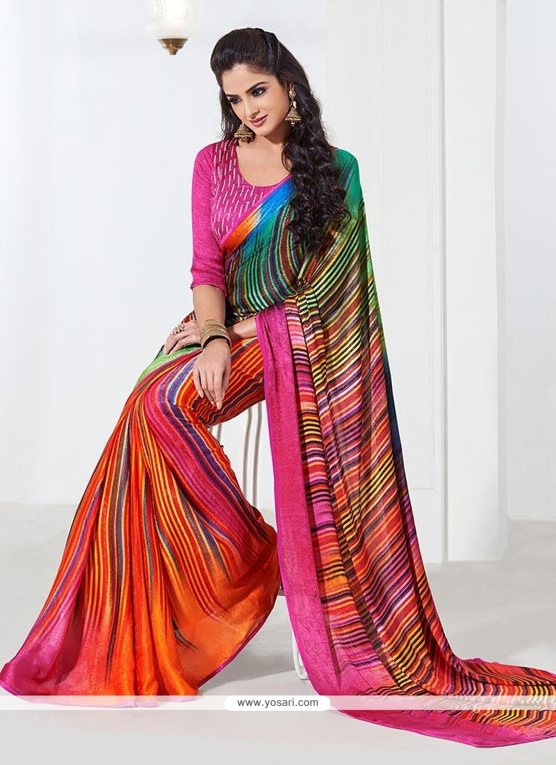 Multicolored Faux Crepe Saree